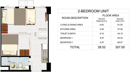 Park Residences - 2 Bedroom Unit