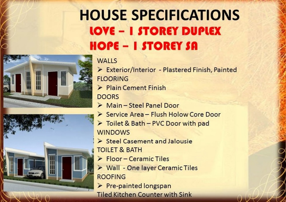 Regina Rosa Residences - House Specifications