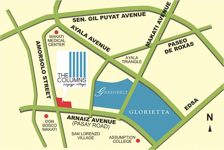 The Columns Legazpi Village - Location Map