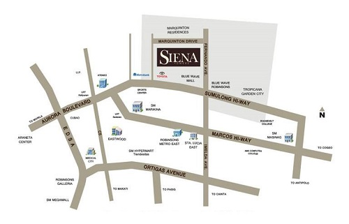 Siena Towers - Location Map