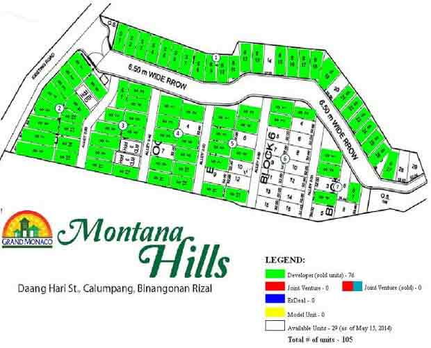 Montana Hills - Sub Division Map