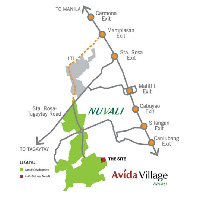 Avida Village Cerise  - Location Map