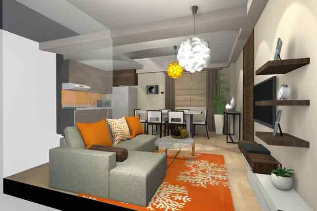 Jade Pacific Residences - Two Bedroom Living and Dining View