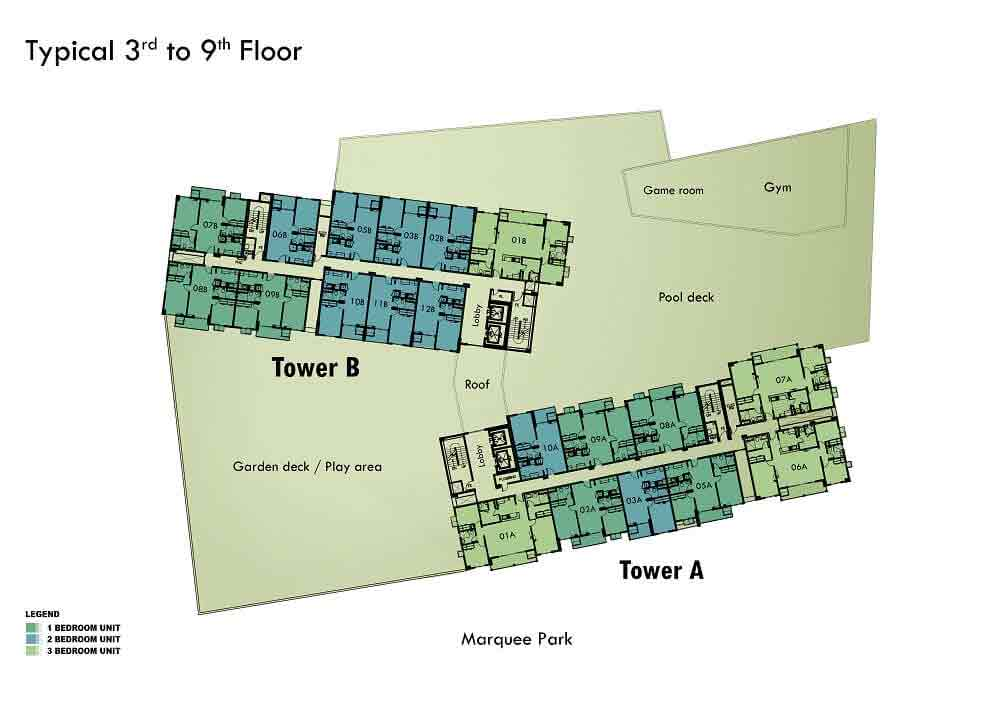 Marquee Residences - 3rd to 9th Floor Plan