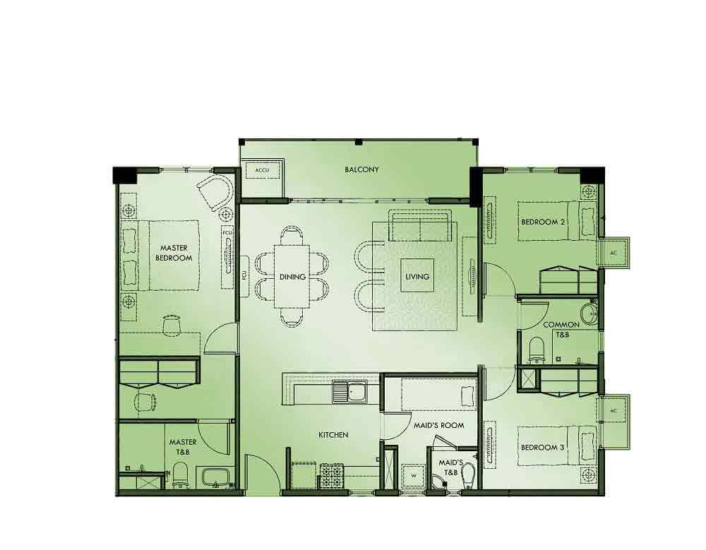 Marquee Residences - 3 Bedroom Unit