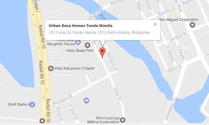 Urban Deca Homes Tondo - Location Map