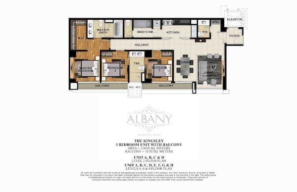The Albany - 3 BR Unit with Balcony