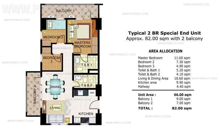 Illumina Residences Manila  - Typical 2 BR Special End Unit