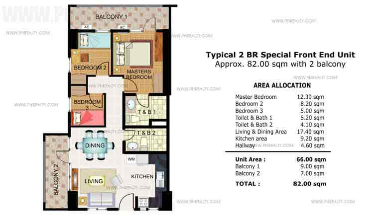 Illumina Residences Manila  - Typical 2 BR Special Front End Unit