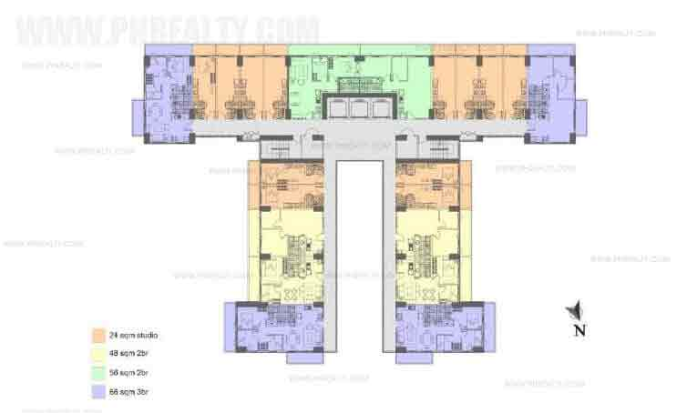 Illumina Residences Manila  - Typical Building Floor Plan With Studio Unit A
