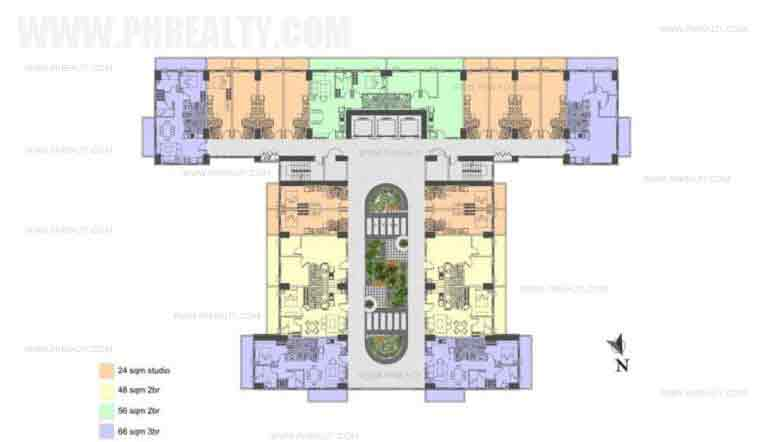 Illumina Residences Manila  - Typical Building Floor Plan With Studio Unit A Atriums Level