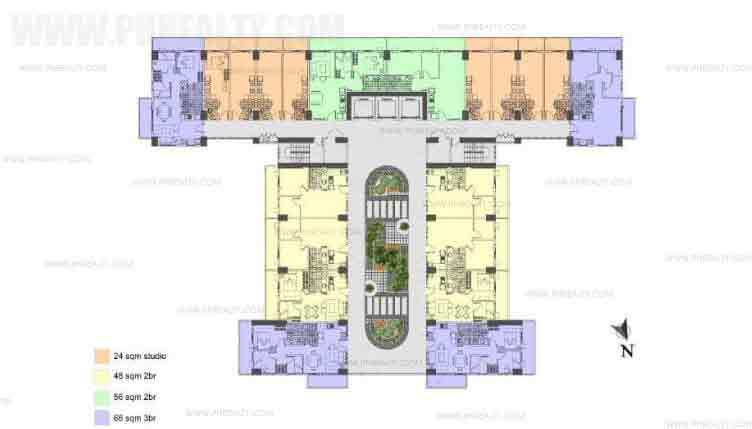 Illumina Residences Manila  -  Typical Building Floor Plan with Studio Unit B Atrium Level