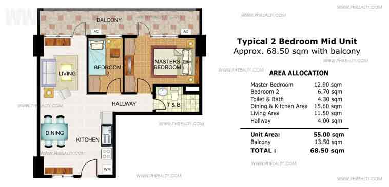 Illumina Residences Manila  -  Typical 2 Bedroom Mid Unit