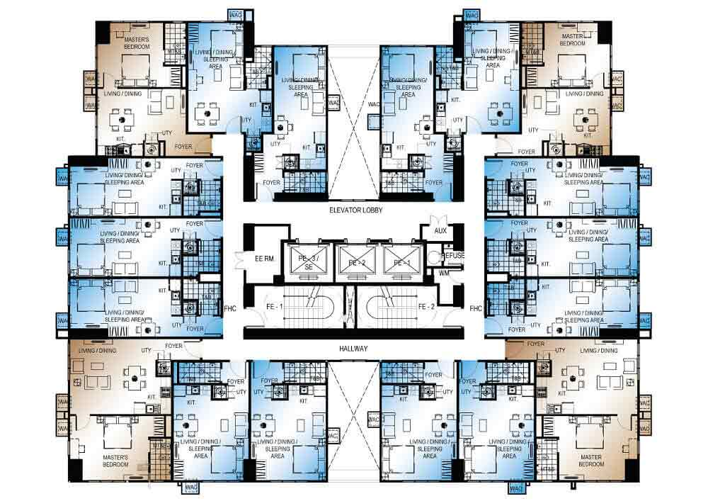 Abreeza Place - Typical Floor Plan Without Balcony