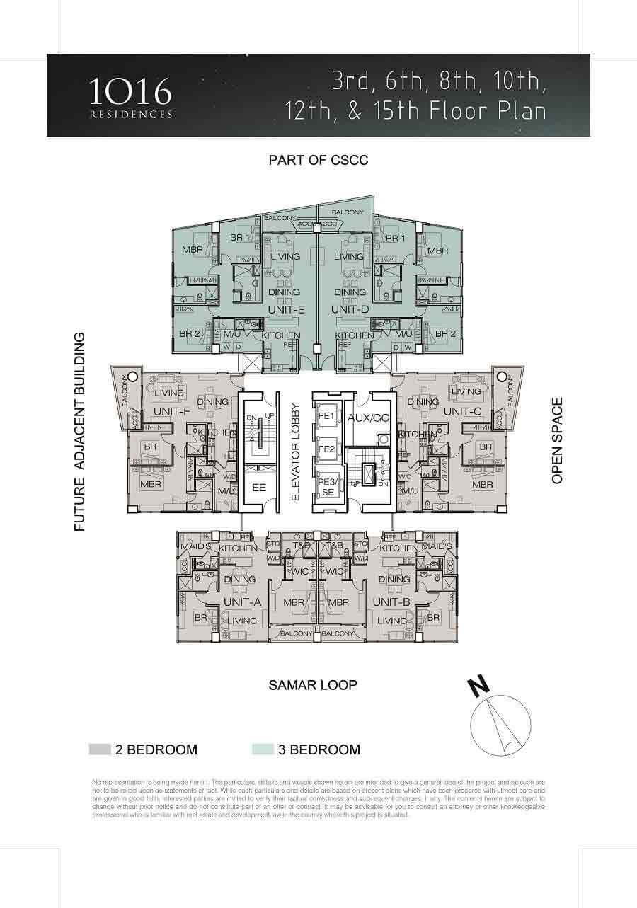1016 Residences - 3rd, 6th, 8th, 10th, 12th, 15th Floor Plan