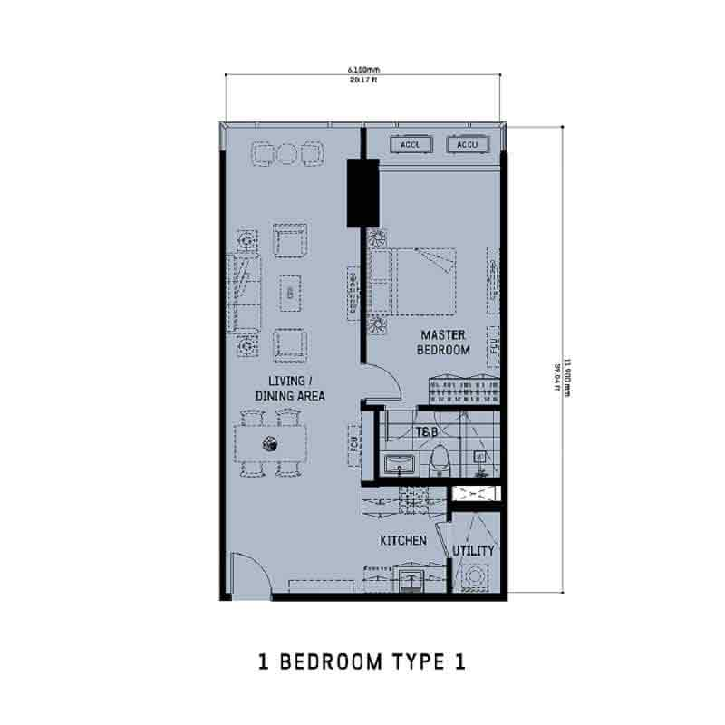 The Gentry Residences - 1 Bedroom Unit Type 1
