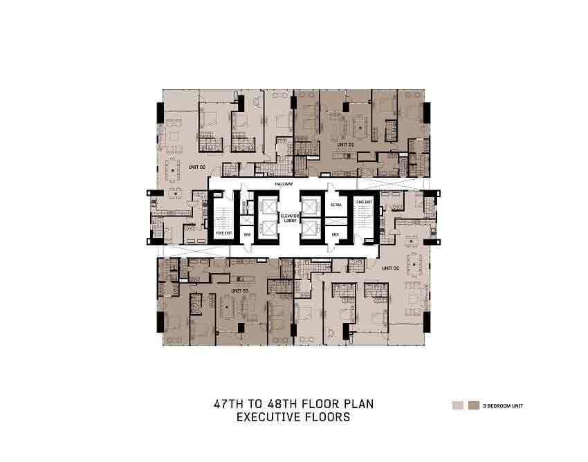 The Gentry Residences - 47th To 48th Floor Plan