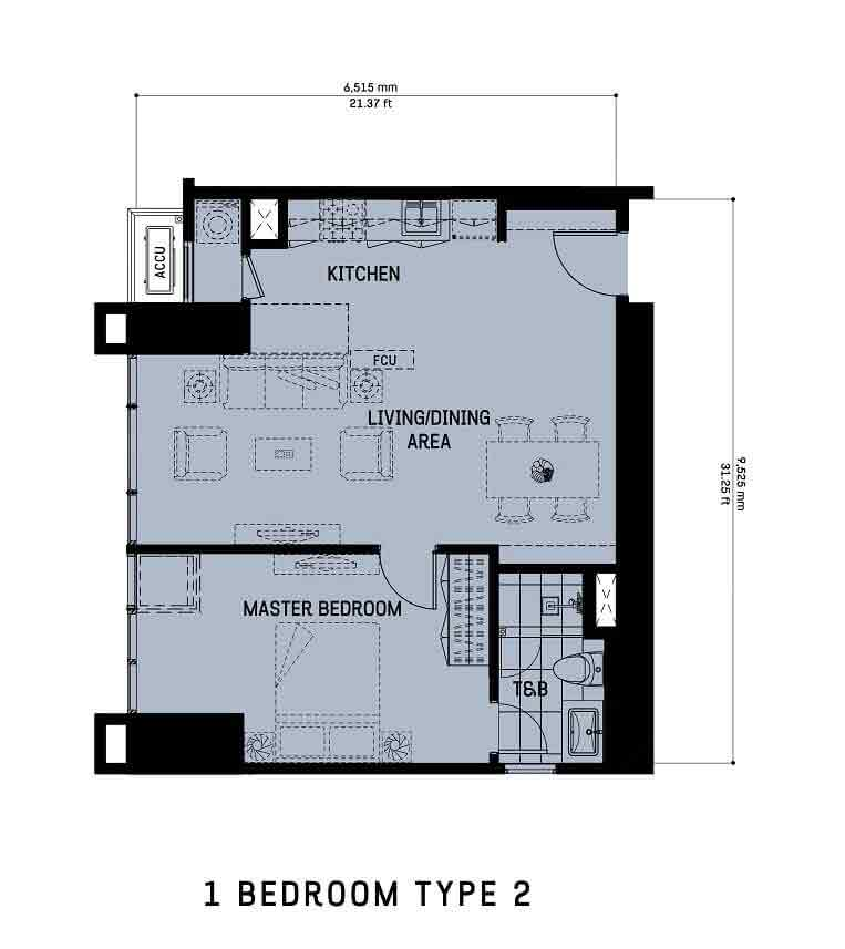 The Gentry Residences - 1 Bedroom Unit Type 2