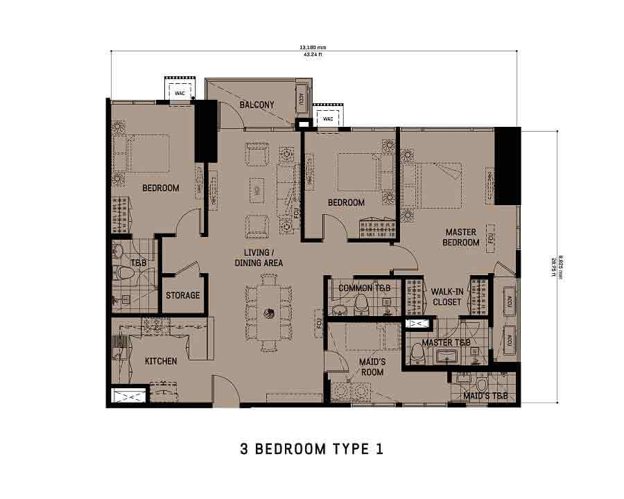 The Gentry Residences - 3 Bedroom Unit Type 1