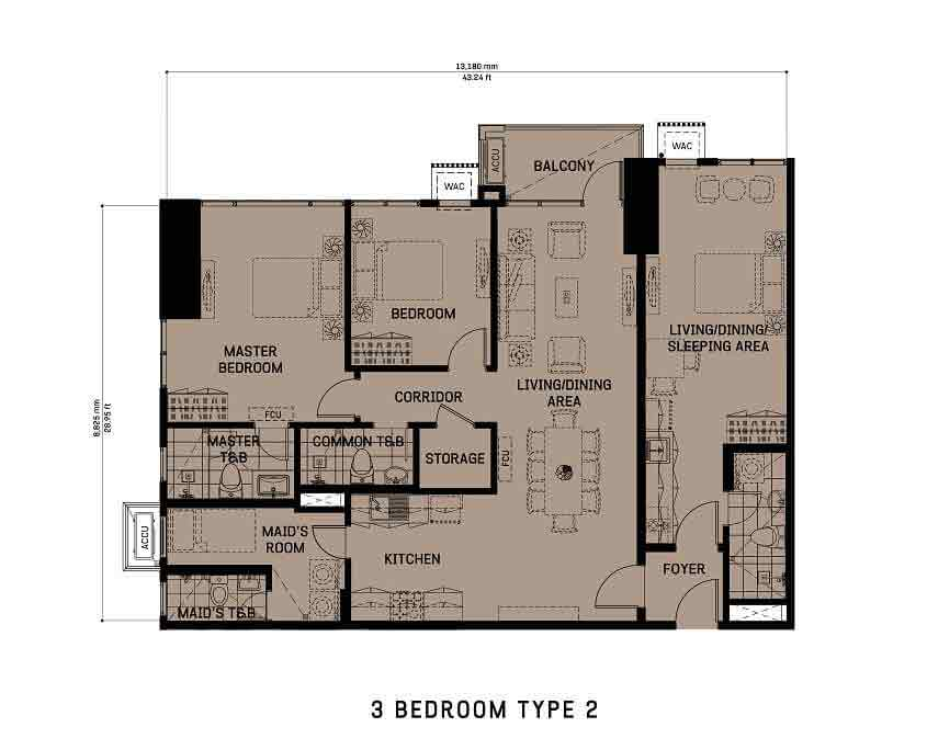 The Gentry Residences - 3 Bedroom Unit Type 2