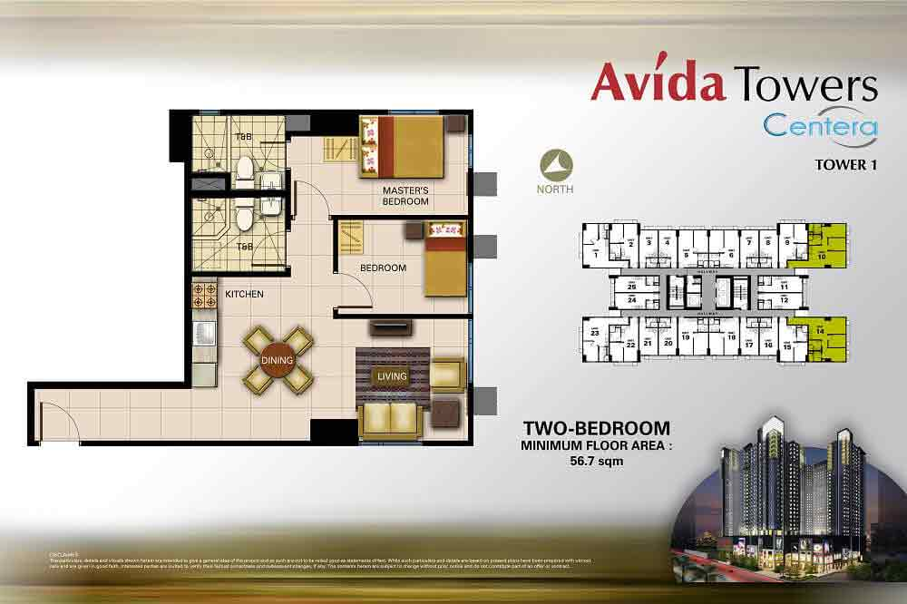 Avida Towers Centera  - 2 Bedroom Unit