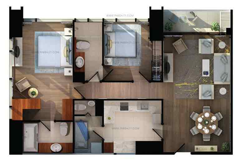 Shang Salcedo Place - Two Bedroom Corner Type A