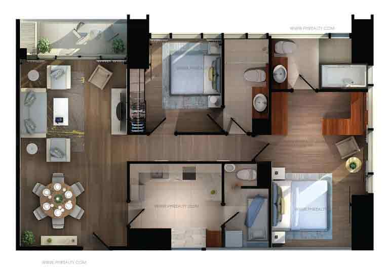 Shang Salcedo Place - Two Bedroom Corner Type B