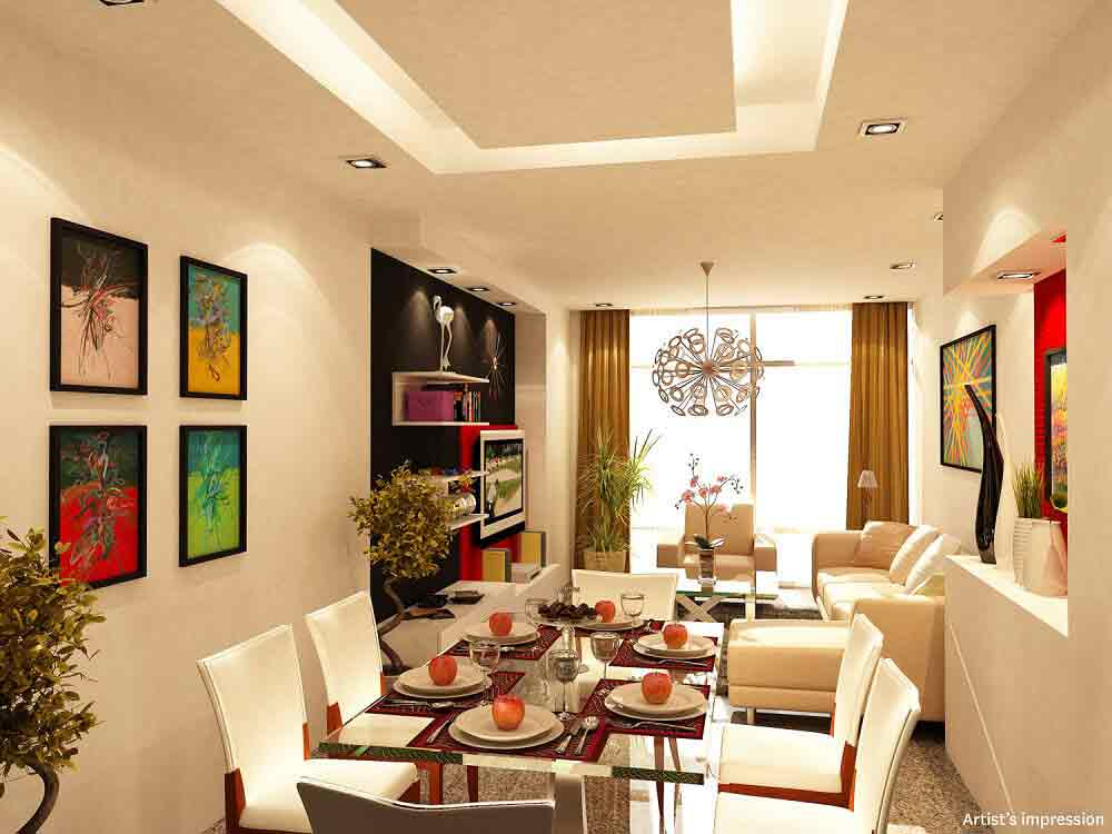 Three Central - Living and Dining Area