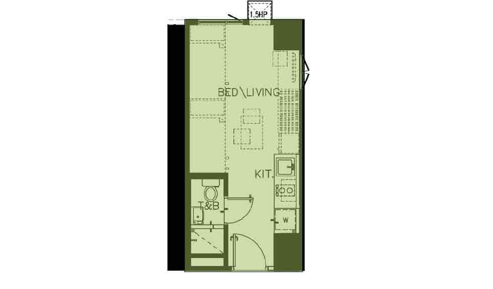 Green 2 Residences - Studio End Unit