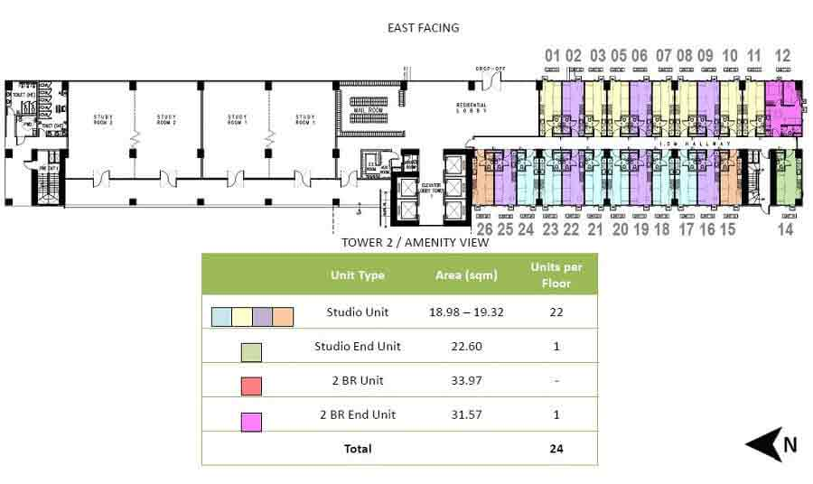 Green 2 Residences - Tower 1 - 2nd Floor Plan