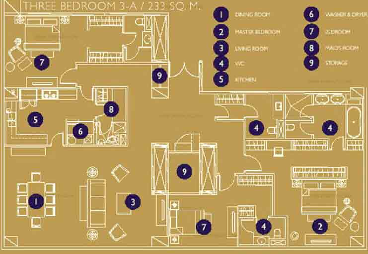 Raffles Residences - Three Bedroom Unit
