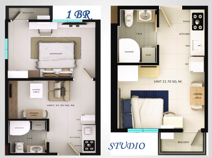 Torre De Florencia - 1 BR and Studio Unit Layout