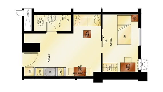 2 Torre Lorenzo - 1 - Bedroom Floor Plan