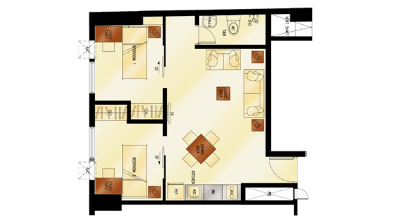 2 Torre Lorenzo - 2 - Bedroom Floor Plan