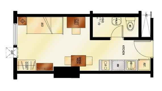 2 Torre Lorenzo - Studio Floor Plan