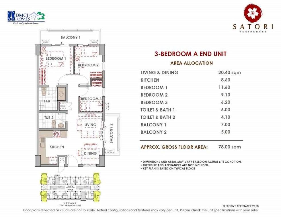 Satori Residences - 3 Bedroom A End Unit