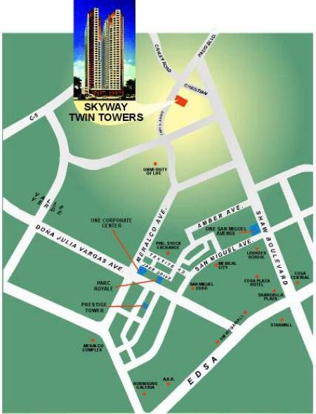 Skyway Twin Towers - Location Map