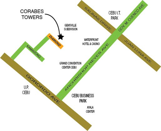 Corabes Tower - Location Map