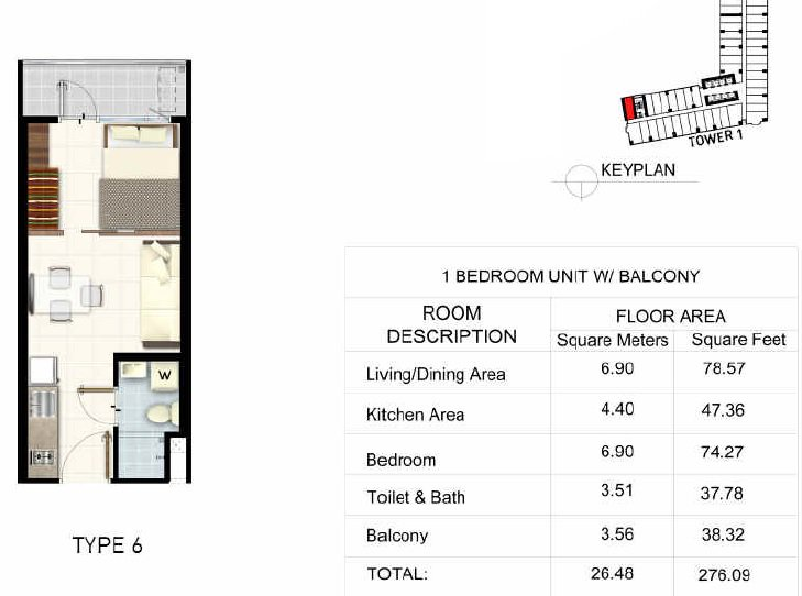 Light 2 Residences - 1 BR + Balcony