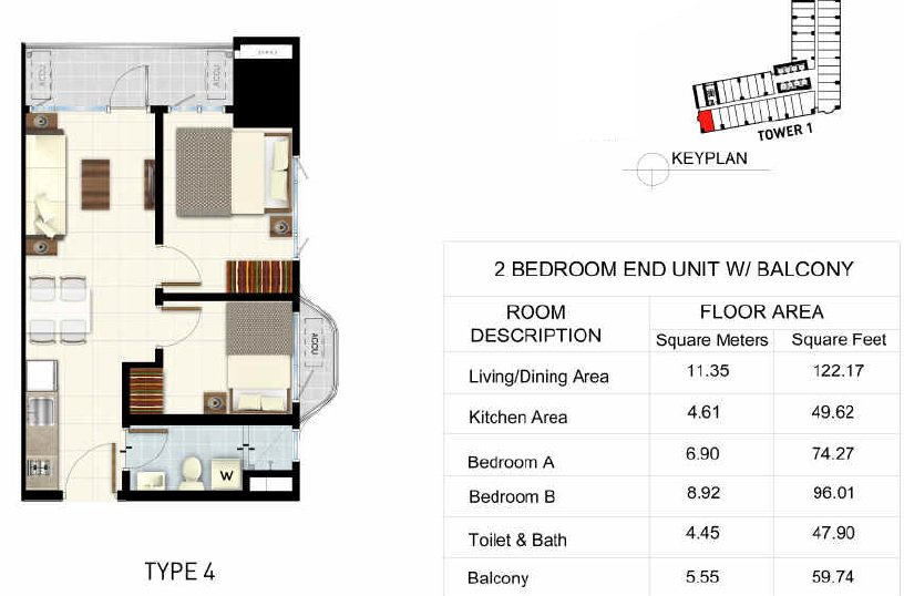 Light 2 Residences - 2 BR End Unit + Balcony
