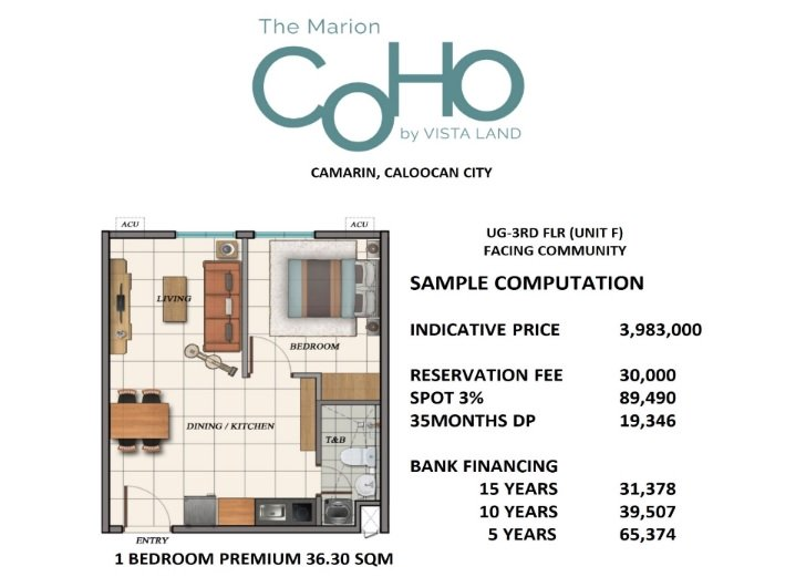 The Marion Caloocan COHO - Sample Computation 1 BR Premium