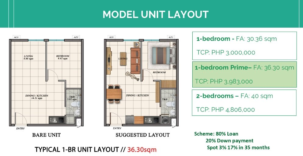 The Marion Caloocan COHO - 1 BR Unit Layout