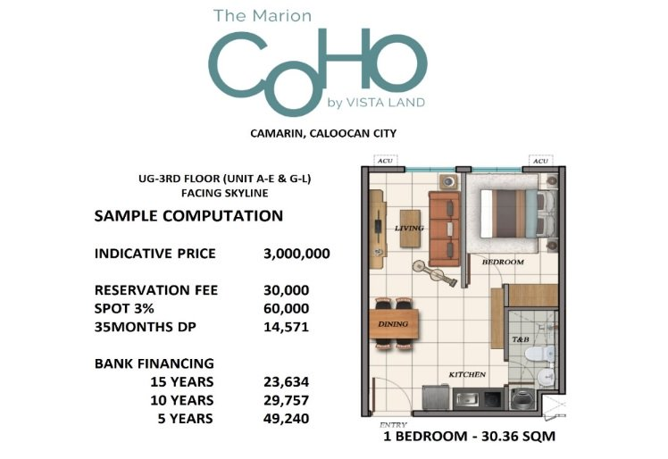 The Marion Caloocan COHO - 1 BR Unit Sample Computation