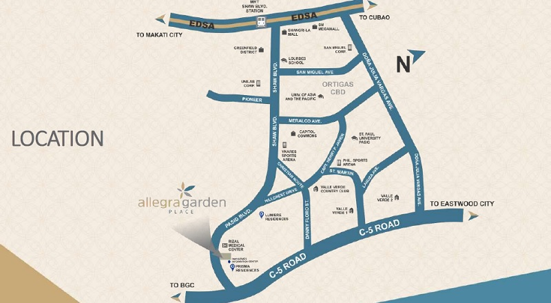 Allegra Garden Place - Location Map