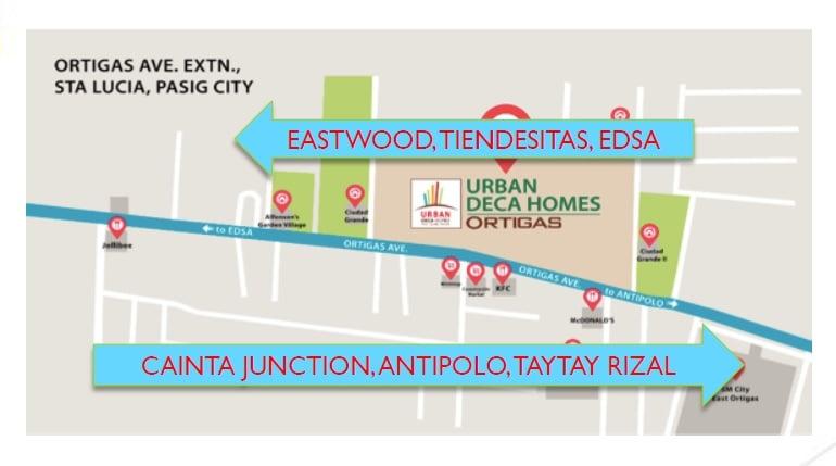 Urban Deca Homes Ortigas - Location Map