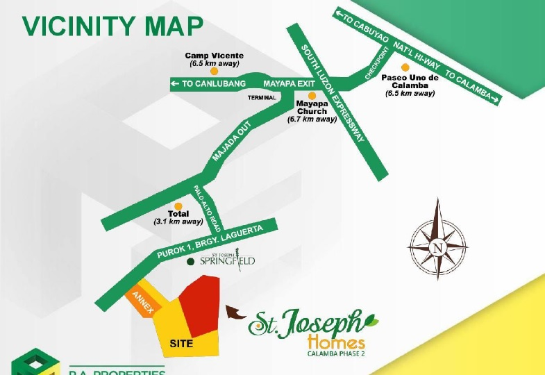 St. Joseph Homes Calamba Phase 2 - Location Map