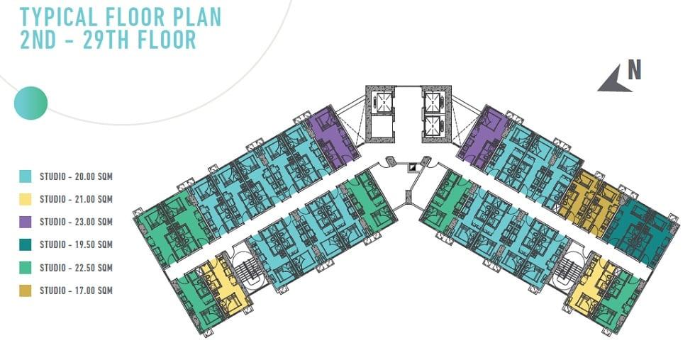Gateway Regency Studios - Typical Floor Plan