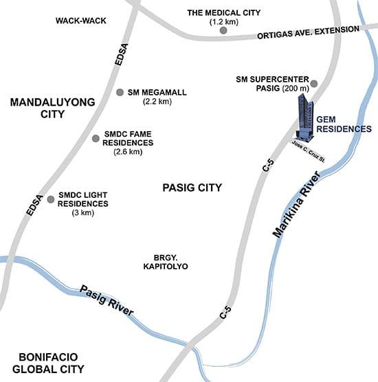 Gem Residences - Location Map