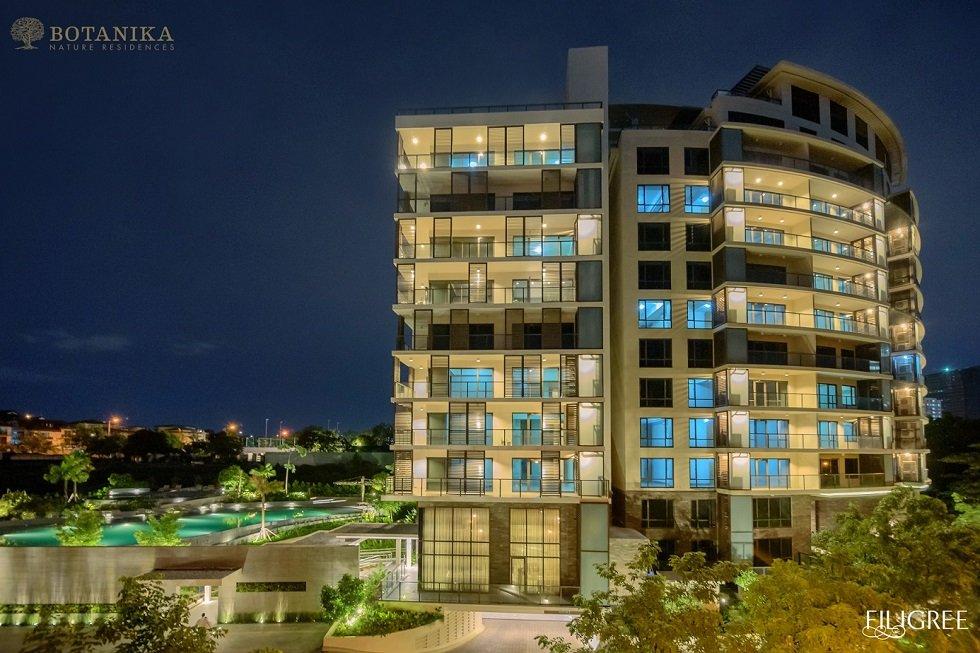 Botanika Nature Residences - Building Facade at Night